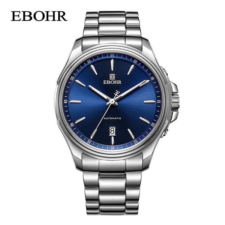 依波表(EBOHR)探索者系列蓝盘钢带日历自动机械男表 51270216