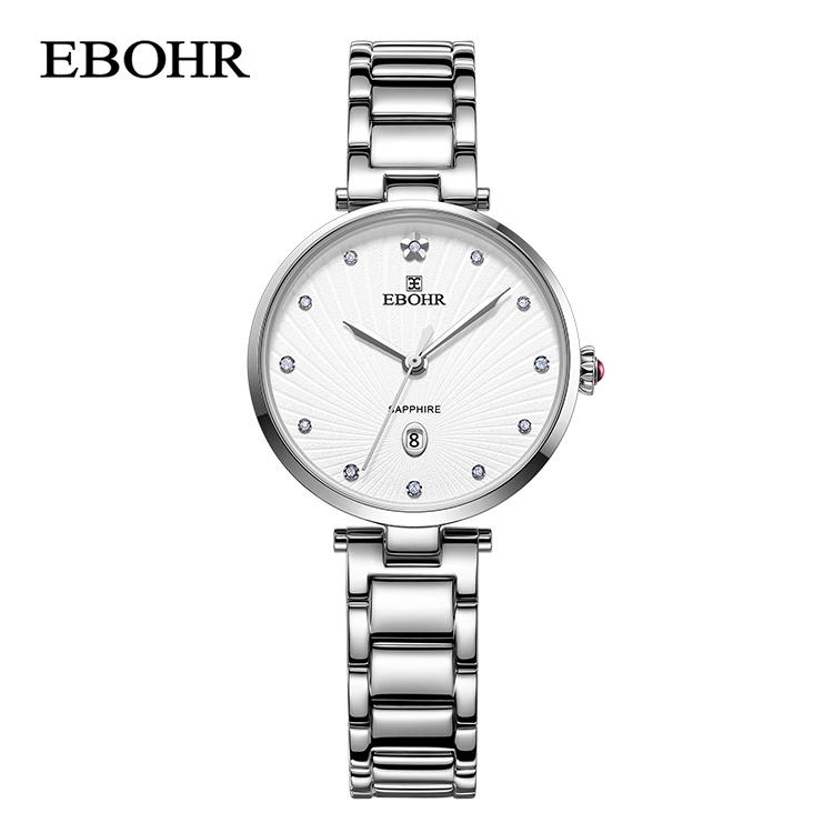 依波表(EBOHR)简约时尚银色石英女表 56540123