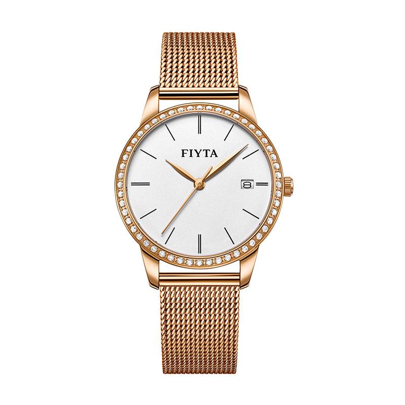 飞亚达(FIYTA)倾城系列防水石英女表时尚简约白盘金带钟表 DL865000.PWPD