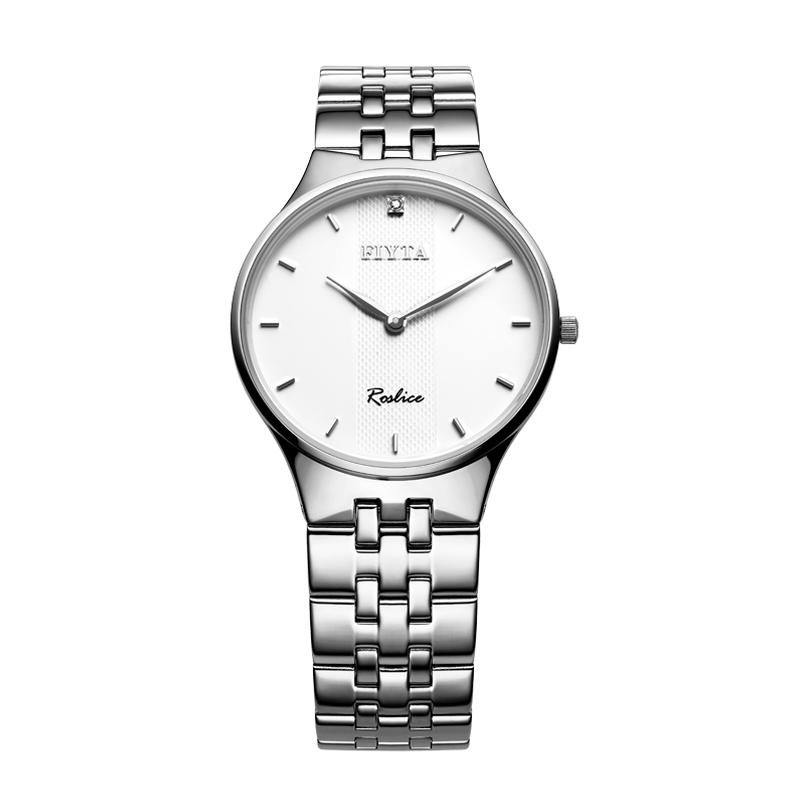 飞亚达(FIYTA)手表 卓雅系列石英情侣表男表 白盘钢带 钟表 G246.WWWD