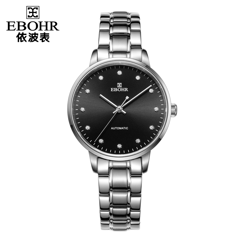 依波表(EBOHR)机械表钢带休闲时尚简约防水情侣手表女款黑盘银色锆石50980222