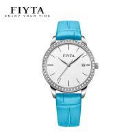 飞亚达(FIYTA)手表女 防水镶锆时尚石英女表皮带钟表 海洋蓝DL865000.WWLD