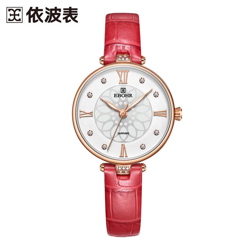 依波表(EBOHR)炫彩系列清新雅致红色皮带石英女表钟表36220120