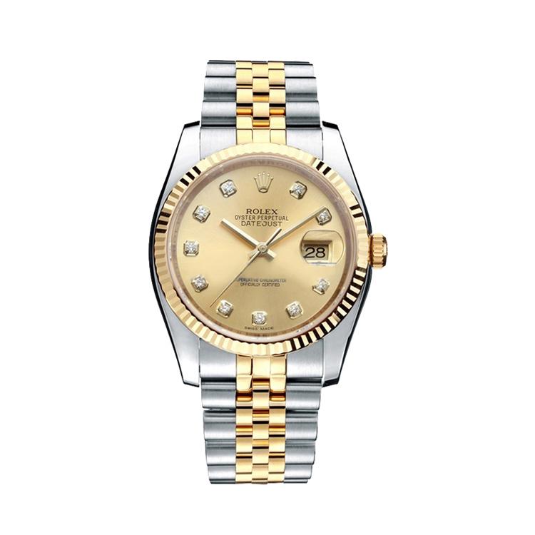 瑞士 劳力士(Rolex) 日志型系列  男士 机械表 116233-63603香槟金色钻石字