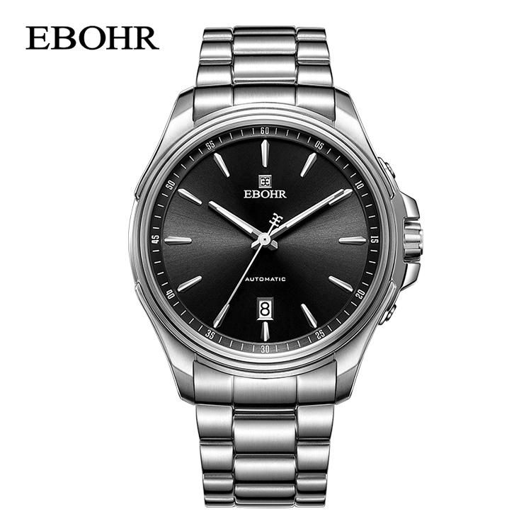 依波表(EBOHR)探索者系列黑盘钢带日历自动机械男表 51270315