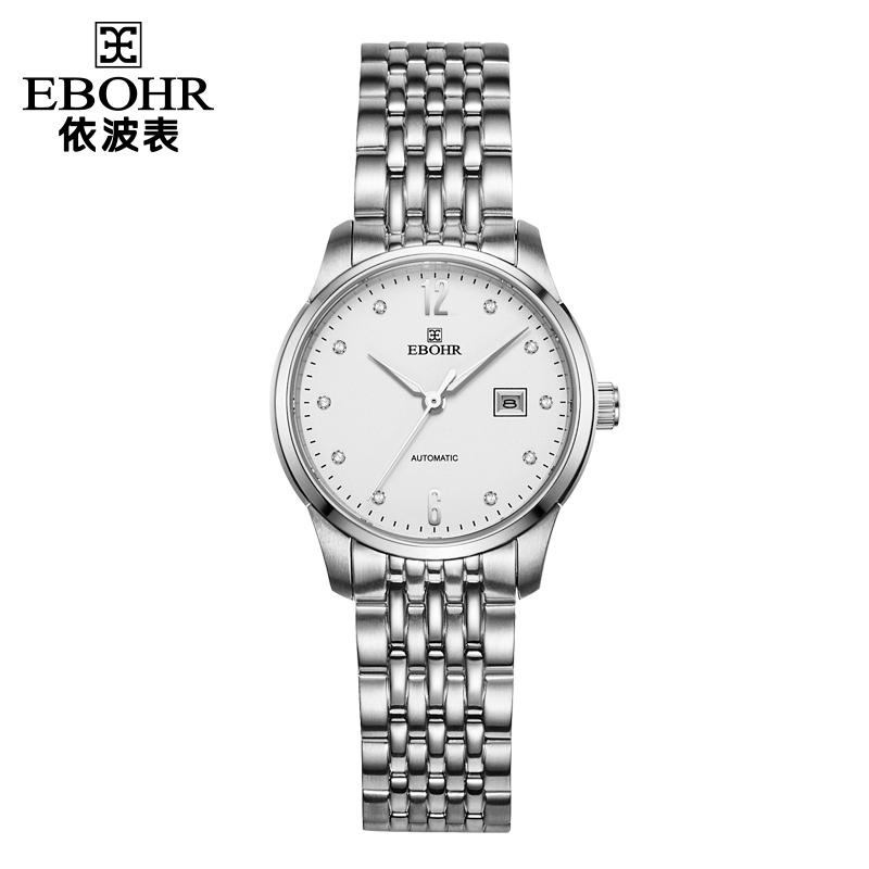 依波表(EBOHR)机械钢带日历休闲商务淑女优雅时尚防水女表 白盘钢带51030322