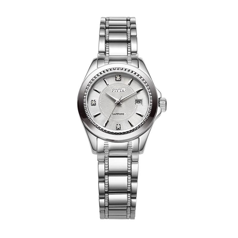 飞亚达(FIYTA)手表锋逸系列机械情侣表女表白盘钢带LJ096.WWW
