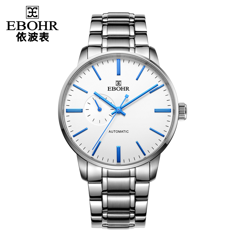 依波表(EBOHR)机械表休闲时尚简约防水女表情侣手表男款白盘蓝色钉50980116