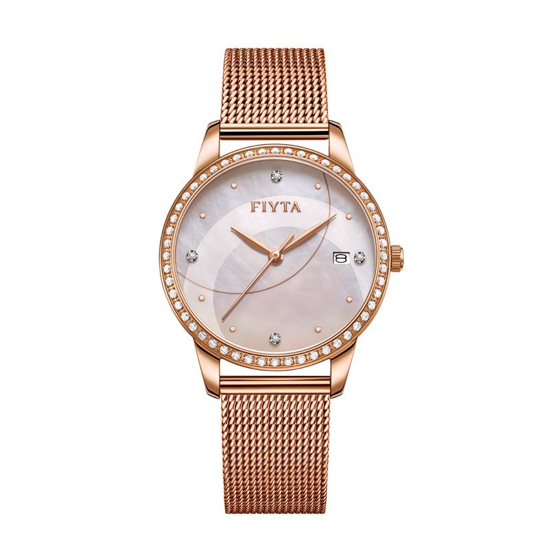 飞亚达(FIYTA)倾城系列时尚防水石英表女士腕表钟表轻奢玫瑰金DL865002.PWPD