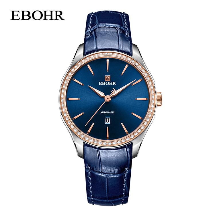 依波表(EBOHR)探索者系列蓝盘皮带自动机械女表 51270445